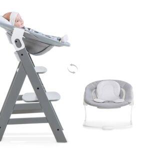 Kinderstoel Hauck Alpha+ Grey + Bouncer Stretch Grey
