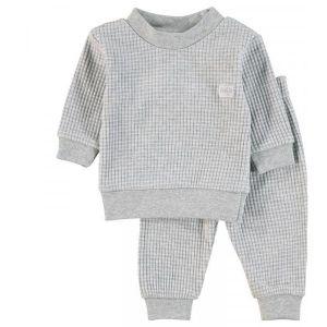 Pyjama Mini Feetje Wafel Grey Melange Maat 92 t/m 104