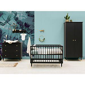 Babykamer Bopita Cloë Mat Zwart (2-deurs) incl. Matras en Wandrek