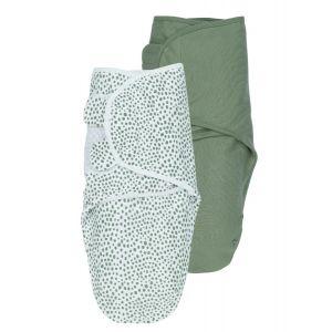 Inbakerdoek SwaddleMeyco Cheetah/Uni Forest Green 0-3 mnd 2-pack