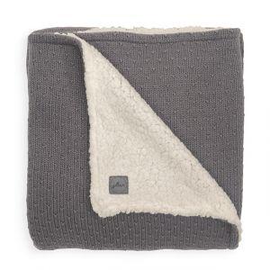 Deken Wieg Jollein 75x100 Teddy Bliss Knit Storm Grey