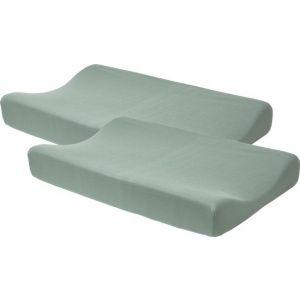 Waskussenhoes Meyco Basic Jersey Stone Green 2-pack
