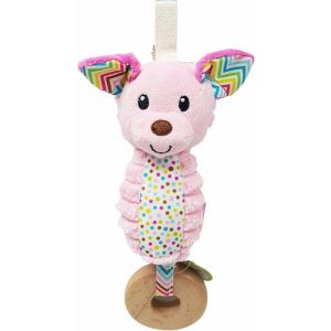 Rammelaar en Bijtring Infantino Chime Pink Dog