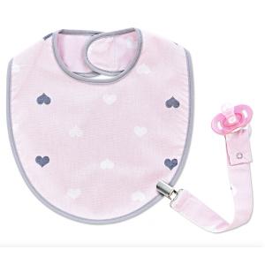 Babyjem Slabber met Speenketting Hearts Pink