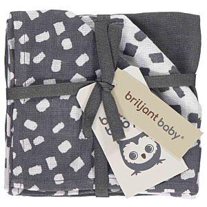 Hydrofiele Monddoekjes Briljant Baby Flocks Dark Grey 3-pack