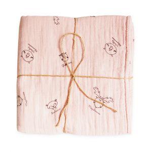Deken Wieg Cigit Kids 75x100 Animal Pink