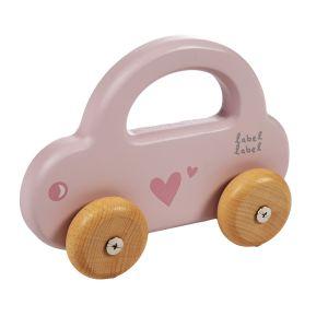 Houten Auto Label-Label Little Car Pink