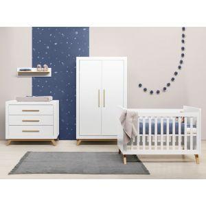 Babykamer Bopita Fenna Wit/Naturel (2-deurs) incl. Matras en Wandrek