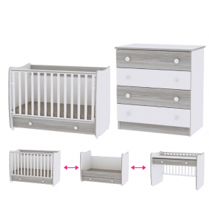Babykamer Lorelli Dream 60x120 White/Artwood (Ledikant + Commode)