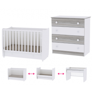 Babykamer Lorelli Dream 60x120 White (Ledikant + Commode)