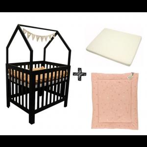 Set | Box Bart House Black + Boxmatras + Boxkleed Sunny Pink
