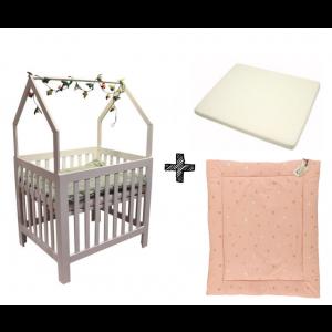 Set | Box Bart House White + Boxmatras + Boxkleed Sunny Pink