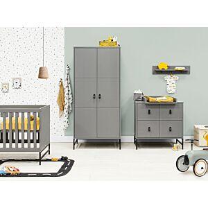 Babykamer Bopita Milo Steel Grey (2-deurs) incl. Matras en Wandrek