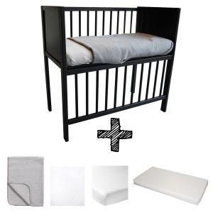 Co-sleeper Black Set Compleet 5-delig Basic Grijs Melange