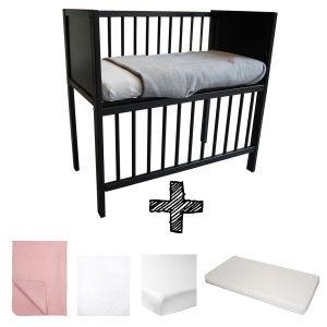 Co-sleeper Black Set Compleet 5-delig Basic Oud Roze