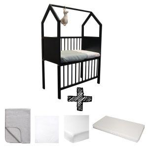 Co-sleeper House Set Black Compleet 5-delig Grijs Melange