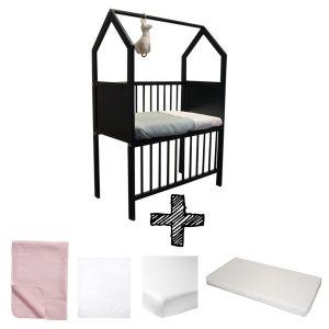 Co-sleeper House Set Black Compleet 5-delig Lichtroze