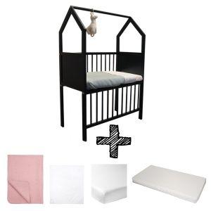 Co-sleeper House Set Black Compleet 5-delig Oud Roze