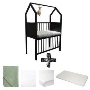 Co-sleeper House Set Black Compleet 5-delig Stone Green