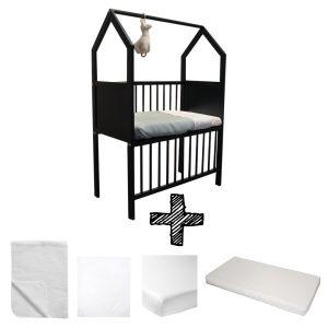 Co-sleeper House Set Black Compleet 5-delig Wit