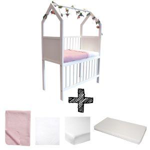 Co-sleeper House Set White Compleet 5-delig Lichtroze