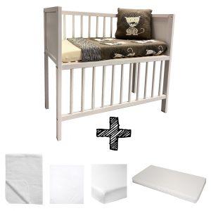 Co-sleeper Whitewash Set Compleet 5-delig Basic Wit