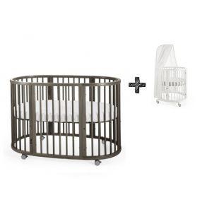 STOKKE® SLEEPI™ Bed 60x120cm Hazy Grey + Gratis Piekstok en Sluier