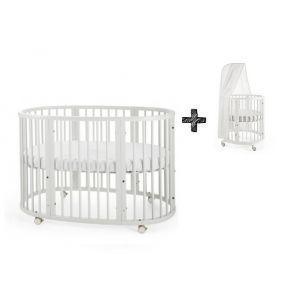 STOKKE® SLEEPI™ Bed 60x120cm White + Gratis Piekstok en Sluier
