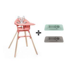 Kinderstoel Stokke® Clikk Sunny Coral + Gratis EZPZ Placemat