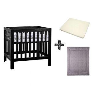 SET | Box Bart Black Wash + Boxmatras Janine + Boxkleed Briljant Baby Minimal Dots Grey