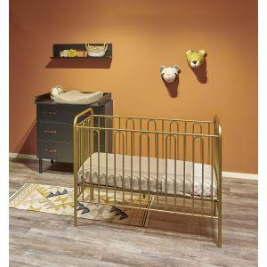 Babykamer Camiel (Ledikant Goud + Commode Zwart)