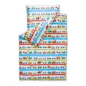 SET | Top Beds Dekbed en hoofdkussen + Dekbedovertrek Cars & Stripes 140x100 cm