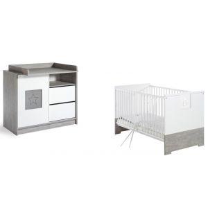 Babykamer Star Grey Ledikant + Commode