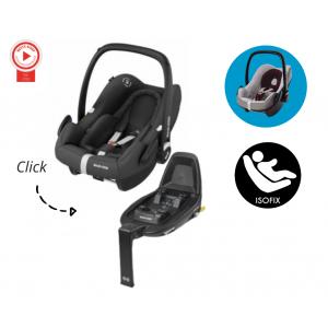 Autostoel Maxi-Cosi Rock Essential Black met Isofixbase FamilyFix2 & Beschermhoes