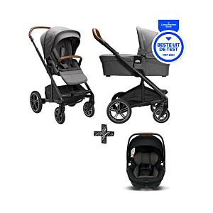 SET | Kinderwagen Nuna Mixx Next Granite + Autostoel Nuna Arra Caviar
