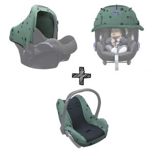 SET | Dooky Hoody, Cover Desing, Seat Cover & Blanket Green Star