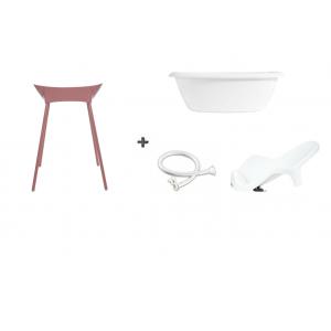 Luma Bad Wit + Badstandaard Dusty Rose + accessoire-set