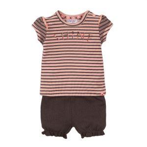 Set 2-delig Dirkje DIPME21 Shirt + Shorts Stripe Pink/Smokey Grey