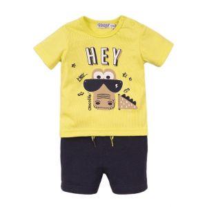 Set 2-delig Dirkje DIPME21 Shirt + Short Neon Yellow/Navy