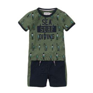 Set 2-delig Dirkje DIPME21 Shirt + Short Neon Faded Green/Navy