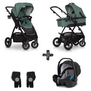 Kinderwagen EasyGo Optimo 3in1 Agave met Autostoel & Adapterset