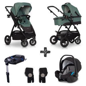 Kinderwagen EasyGo Optimo 4in1 Agave met Autostoel & Isofixbase & Adapterset
