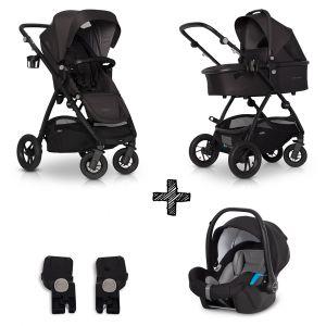 Kinderwagen EasyGo Optimo 3in1 Basalt met Autostoel & Adapterset