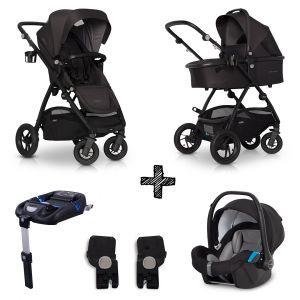 Kinderwagen EasyGo Optimo 4in1 Basalt met Autostoel & Isofixbase & Adapterset