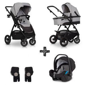 Kinderwagen EasyGo Optimo 3in1 Pearl met Autostoel & Adapterset