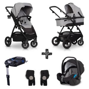 Kinderwagen EasyGo Optimo 4in1 Pearl met Autostoel & Isofixbase & Adapterset