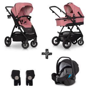 Kinderwagen EasyGo Optimo 3in1 Rose met Autostoel & Adapterset