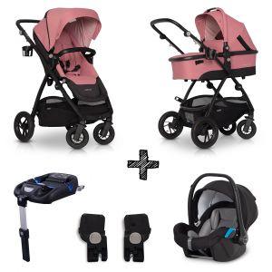 Kinderwagen EasyGo Optimo 4in1 Rose met Autostoel & Isofixbase & Adapterset