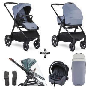Kinderwagen Easywalker Rudey Steel Grey met Autostoel en Accessoires