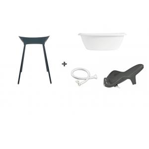 Luma Bad White + Badstandaard Dark Grey + accessoire-set